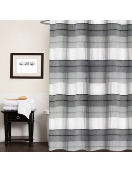 """Hellen 100 Percents Cotton Striped Shower Curtain 70""""X72"""" (Charcoal) by Sweet Home Collection"""