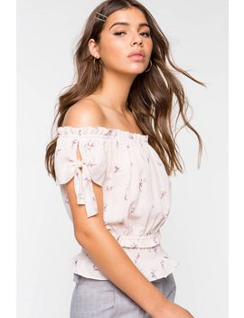 Floral Cinched Waist Off Shoulder Top by A'gaci