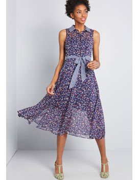 Effortless Mix Midi Dress by Modcloth