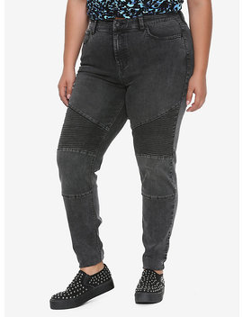 Blackheart Washed Black Moto Jeans Plus Size by Hot Topic