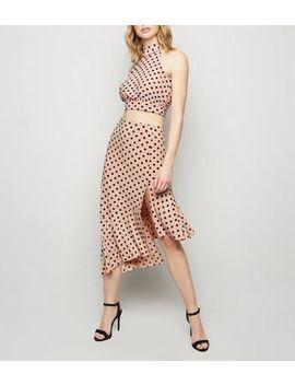 Black Spot Frill Trim Slinky Midi Skirt by New Look