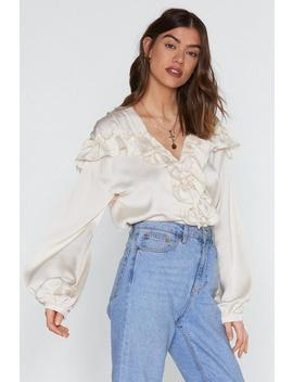 Used To Be My Romeo Satin Ruffle Blouse by Nasty Gal