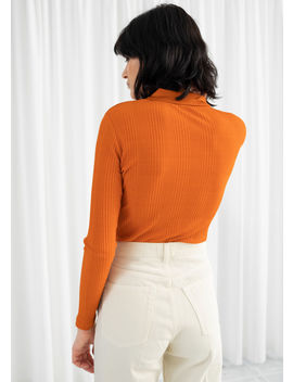 Rib Knit Zippered Polo Top by & Other Stories