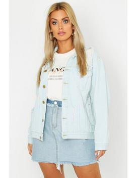 Plus Denim Distressed Oversized Jacket by Boohoo
