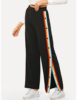 Button Detail Split Striped Pants by Shein