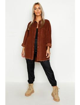 Plus Raw Edge Oversized Cord Shirt by Boohoo