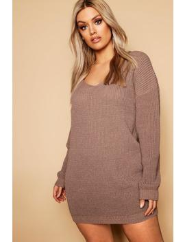 Plus V Neck Jumper Dress by Boohoo