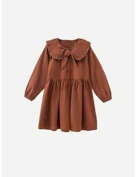 Toddler Girls Frill Trim Knot Front Solid Dress by Sheinside