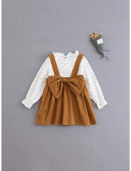 Girls Heart Print Blouse With Pinafore Dress by Sheinside