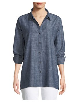 Petite Button Front Long Sleeve Chambray Blouse by Eileen Fisher