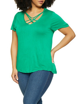 Plus Size Caged Tee by Rainbow