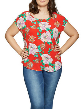 Plus Size Floral Crepe Knit Top by Rainbow
