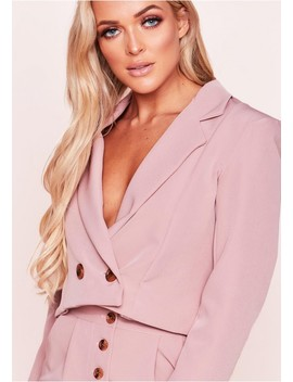 Tera Pink Button Cropped Blazer by Missy Empire
