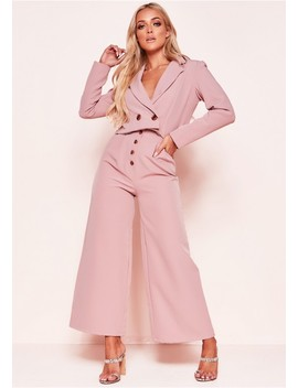 Meri Pink Button Wide Leg Culottes by Missy Empire