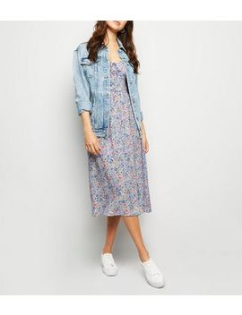 Lilac Floral Lattice Front Midi Dress by New Look