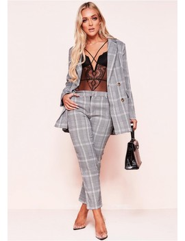 Claire Grey Check Print Cigarette Trousers by Missy Empire