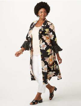 Plus Size Floral Printed Sleeve Duster by Dressbarn