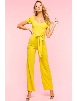 Puff Sleeve Wide Leg Jumpsuit by A'gaci