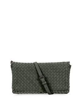 Small Intrecciato Flap Clutch Bag W/Strap, Gray by Bottega Veneta