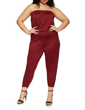 Plus Size Ruched Strapless Jumpsuit by Rainbow