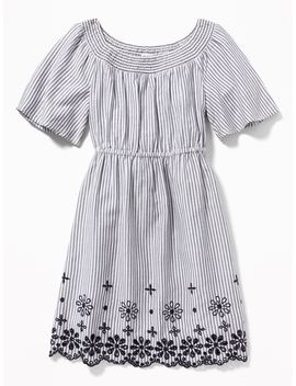 Striped Waist Defined Eyelet Hem Dress For Girls by Old Navy