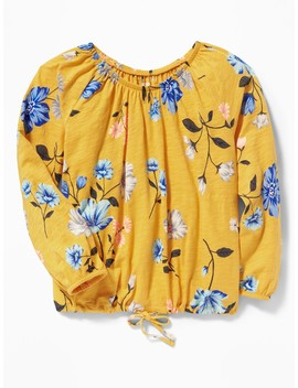 Slub Knit Off The Shoulder Tie Hem Top For Girls by Old Navy