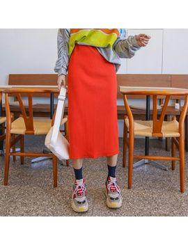 Ppgirl   Band Waist H Line Midi Skirt by Ppgirl