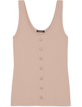 Button Embellished Ribbed Stretch Jersey Tank by Balmain