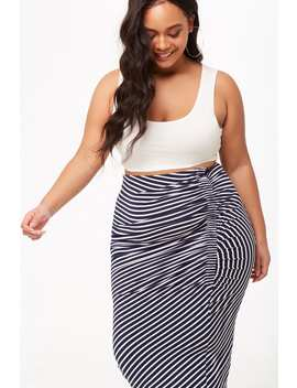 Plus Size Striped Ruched Skirt by Forever 21