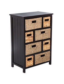 Black & Natural Wood Cabinet With Drawers by Hobby Lobby