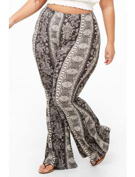 Plus Size Paisley Print Flare Pants by Forever 21