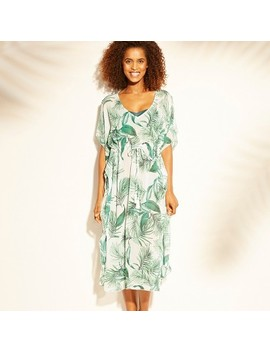 Women's Midi Length Kaftan Cover Up   Kona Sol™ White Palm by Kona Sol