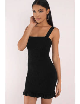 Uptown Black Smocked Bodycon Dress by Tobi