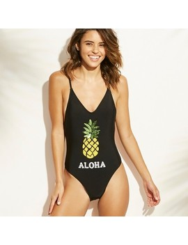 Women's Sequin Pineapple Scoop Back One Piece Swimsuit   Xhilaration™ Black by Xhilaration