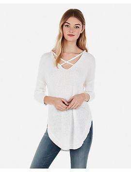 Strappy Circle Hem Tunic Sweater by Express