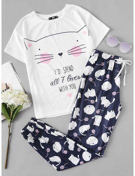 Cat Print Tee And Pants Pajama Set by Sheinside