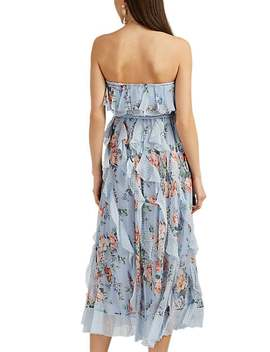 Polka Dot Floral Silk Chiffon Strapless Dress by Zimmermann