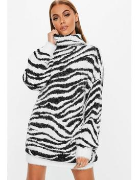 Premium White Fluffy Roll Neck Animal Sweater Dress by Missguided