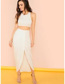 Crop Tank Top With Draped Skirt by Shein