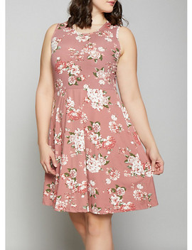 Plus Size Floral Skater Dress by Rainbow