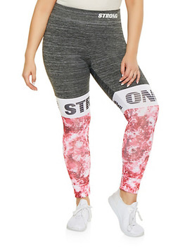 Plus Size Strong Graphic Activewear Leggings by Rainbow