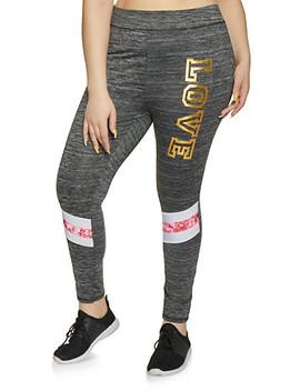 Plus Size Foil Love Leggings by Rainbow