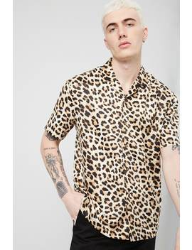 Satin Leopard Print Shirt by Forever 21