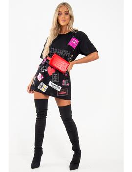 Black Fashion Icon Slogan Print T Shirt   Raeonna by Rebellious Fashion