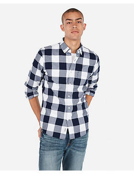 Slim Check Button Down Soft Wash Shirt by Express