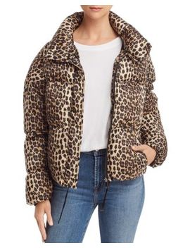 Paula Leopard Print Puffer Coat by Apparis
