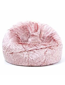 Icon Large Childrens Classic Faux Fur Bean Bags   Luxury Furry Kids Bean Bag Chair (Rose Pink) by Icon