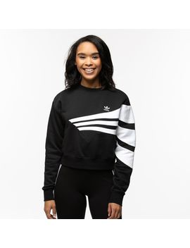 Womens Adidas 3 Stripes Cropped Sweater by Adidas