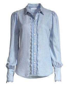 Scalloped Denim Button Down Shirt by Frame
