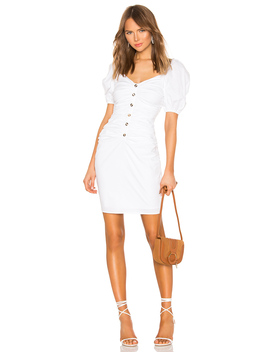 Shirred Button Up Dress With Puff Sleeve by Lpa